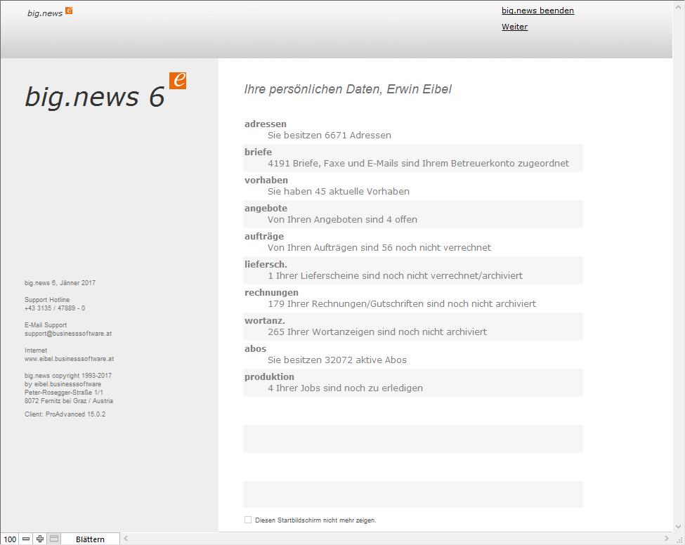 Screenshot für Hauptmenü big.news